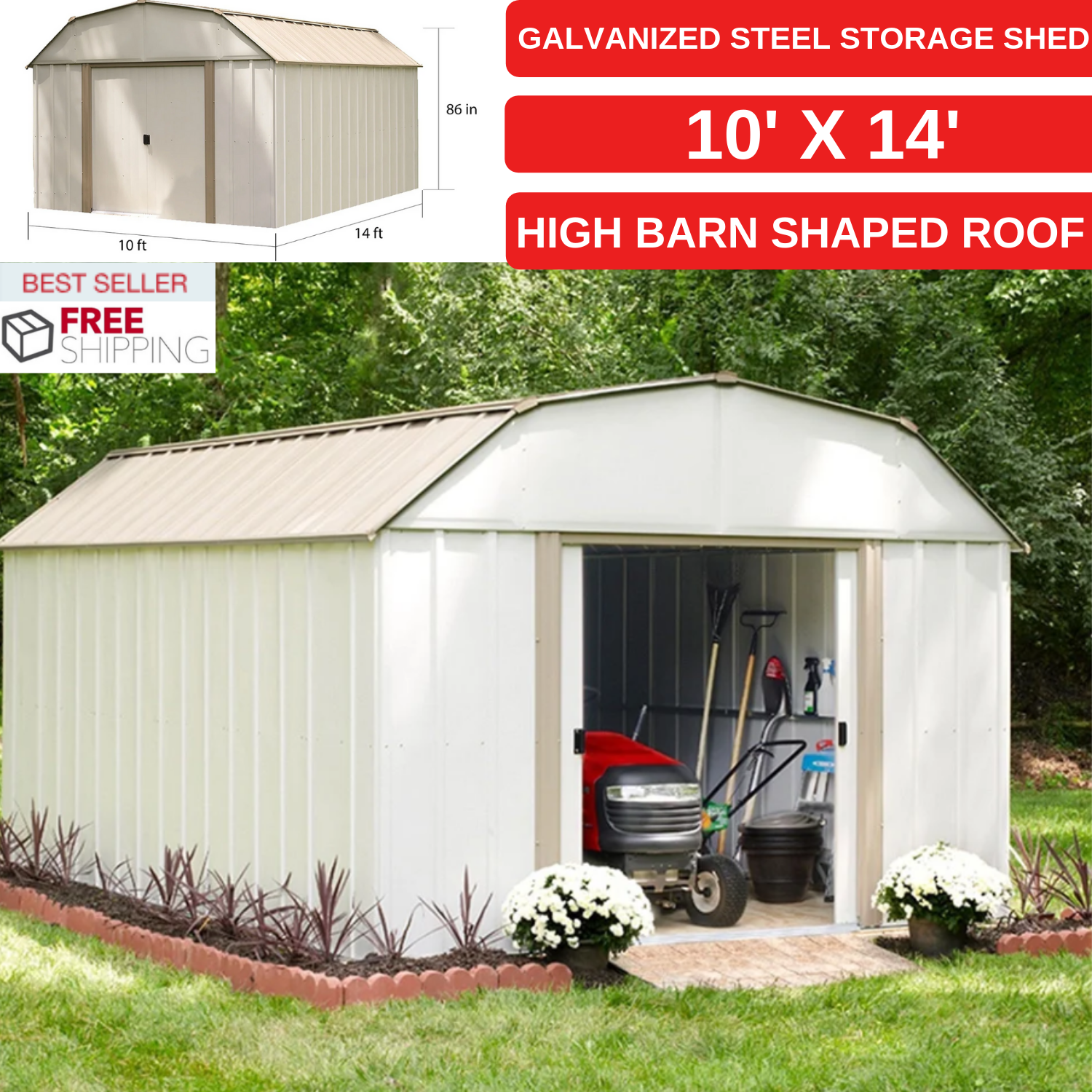 Details About Galvanized Steel Storage Shed 10 X 14 With High Barn Shaped Roof For Outdoor Steel Storage Sheds Storage Shed Galvanized Steel