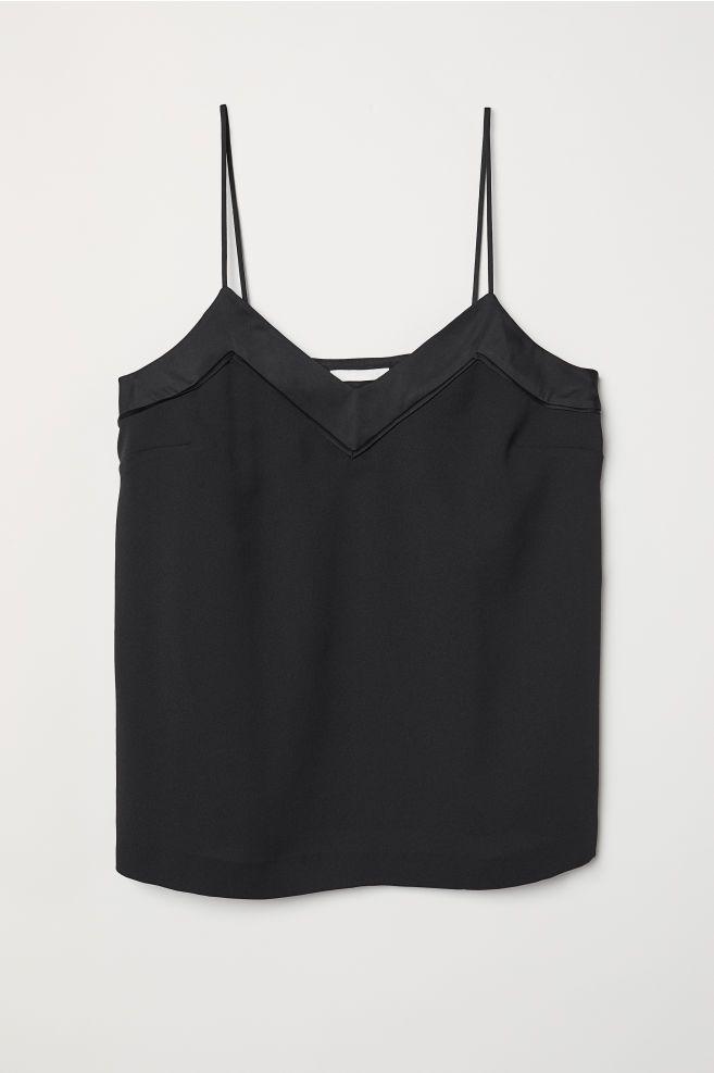 c3d74b2df6b30 H M V-neck Camisole Top - Black in 2019