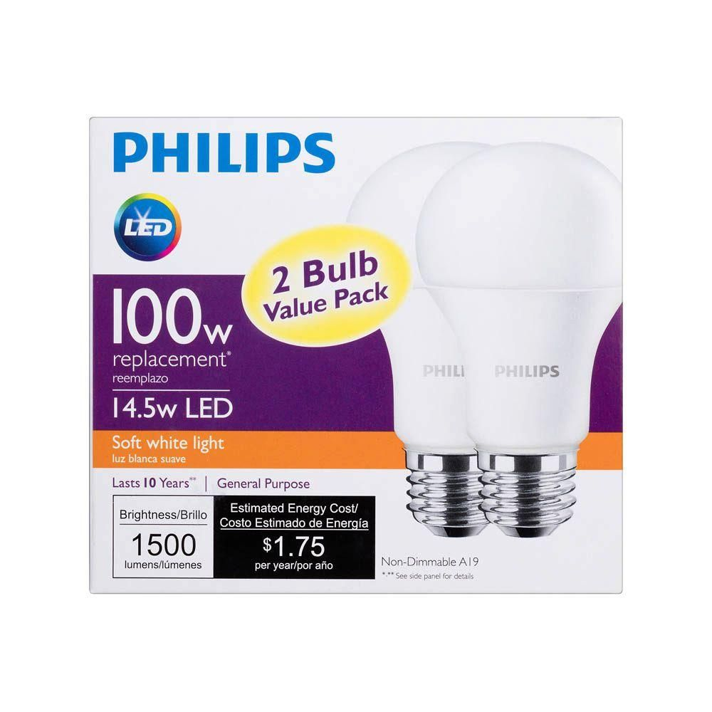 Philips 100W Equivalent Soft White A19 Non-Dimmable LED Household ...