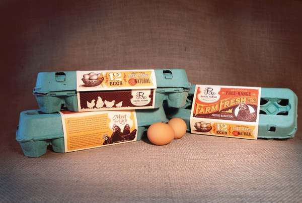 Retro-Inspired Egg Packaging - Rahal Farms Celebrates Its Chickens with a Cute Carton Design (GALLERY)