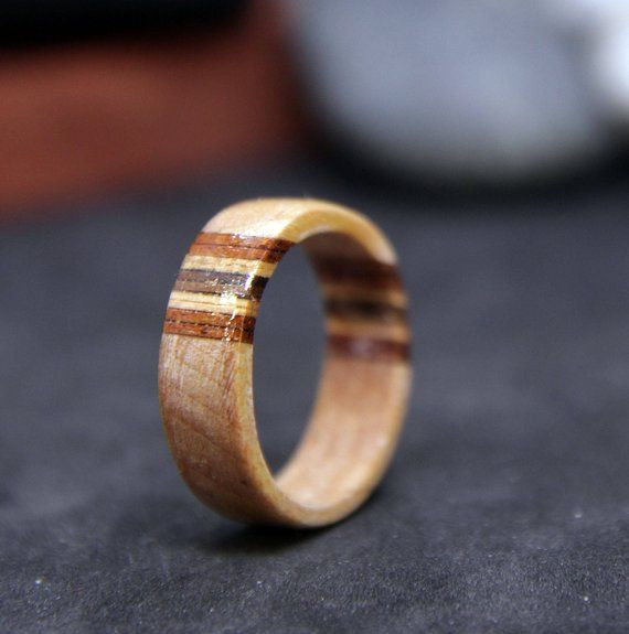 Curly Maple Wood Ring With Wood Veneer Unisex Natural Wood