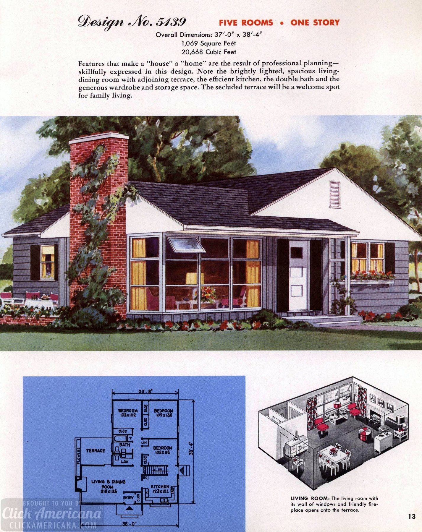 See 110 vintage 50s house plans used to build millions of mid century homes that we still live in today 1950s 50s fifties houses vintagehome