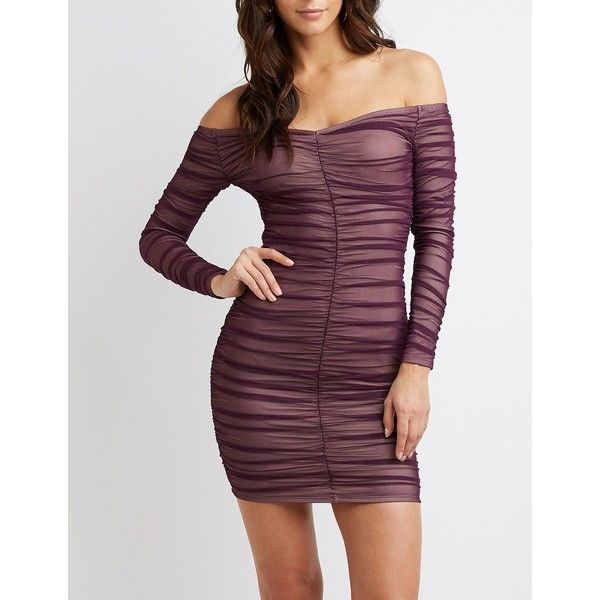 fd8b4b2a0f381 Charlotte Russe Off-The-Shoulder Ruched Bodycon Dress ($30) ❤ liked on  Polyvore featuring dresses, purple, midi cocktail dress, off shoulder long  dress, ...