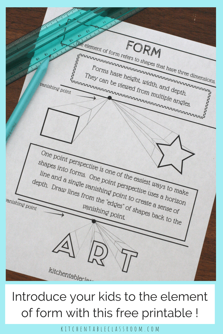 The Element Of Form With Free Printable The Kitchen Table Classroom Color Art Lessons Elements Of Art Art Worksheets [ 1102 x 735 Pixel ]