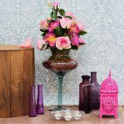Arranjo Rosas e Peônias na Taça de Vidro | Formosinha Decorações
