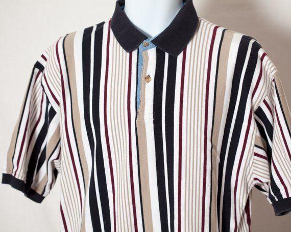 023df7f73e Vintage 90s Men's Vertical Stripe Polo Shirt WOODS & GRAY - L in ...