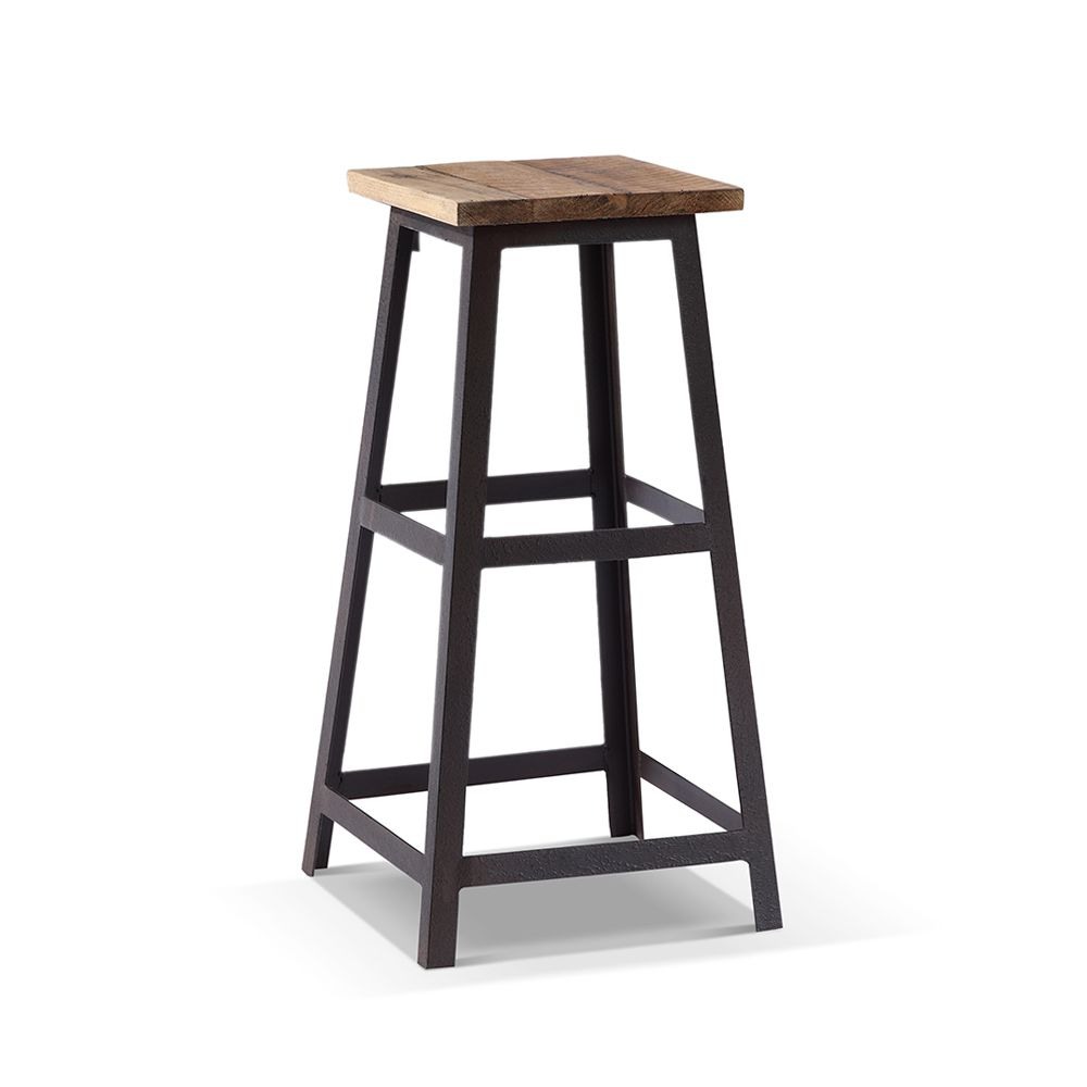 tabouret de bar industriel carr en bois et m tal id es. Black Bedroom Furniture Sets. Home Design Ideas
