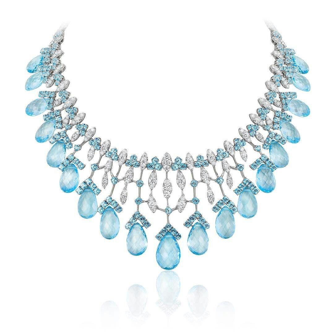 Aquamarine and diamond necklace smykker pinterest aquamarines
