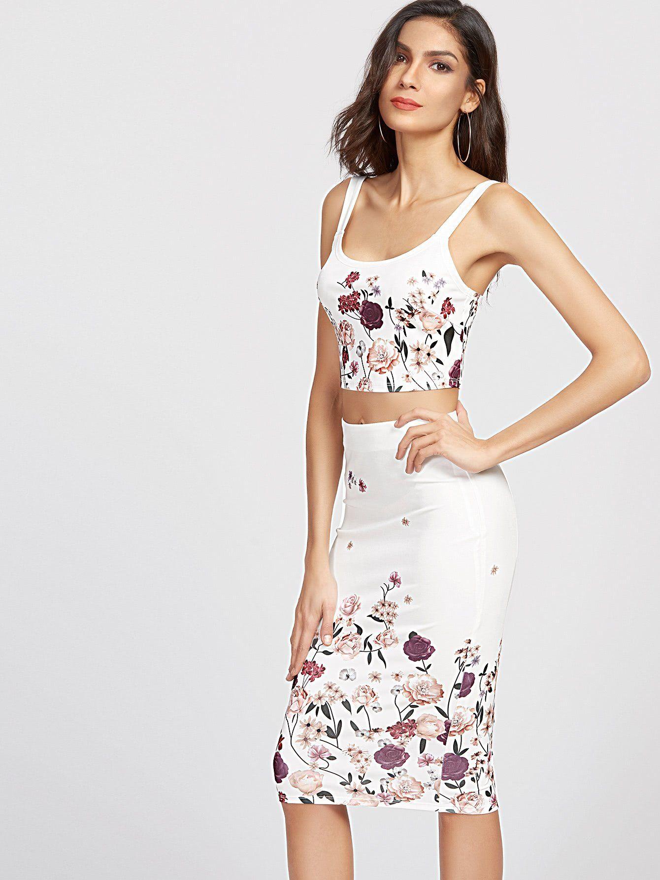 Pencil Skirt And Crop Top Set Denim Bralet U Zip Front Eozy Luxury Women Sleeveless Lace Long Maxi Dress European Style Flower Print Tank With