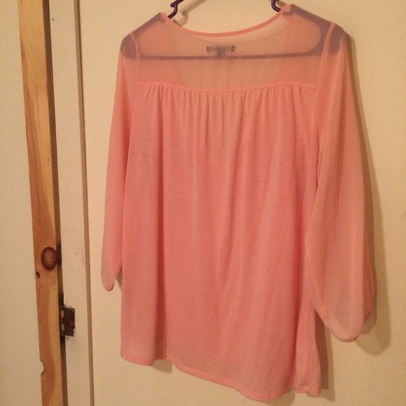5f80799c1200ec Pale Pink Blouse Size medium top with sheer chest and sleeves. Great  condition. 3/4 sleeves American Eagle Outfitters Tops Blouses