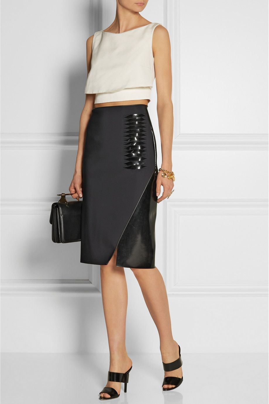 d8ee98bc00acf6 Dion Lee | Wrap-effect neoprene and PVC pencil skirt | Style | Dion ...