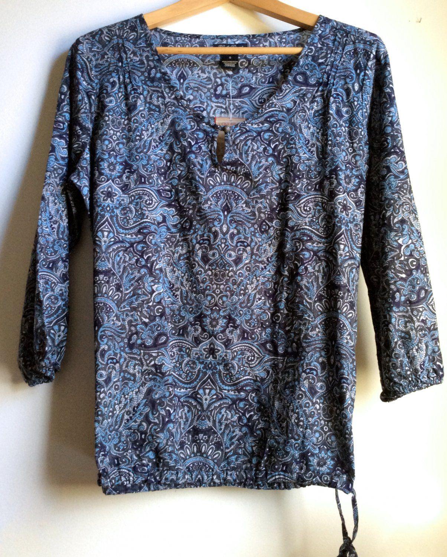 Lucky Brand top. Popover tunic blouse. Indigo Block Print.  #movingsale #bluetops