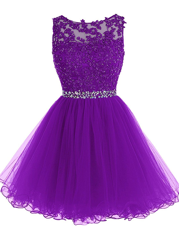 ecda29406e Tideclothes Short Beaded Prom Dress Tulle Applique Evening Dress Dark  Purple US16