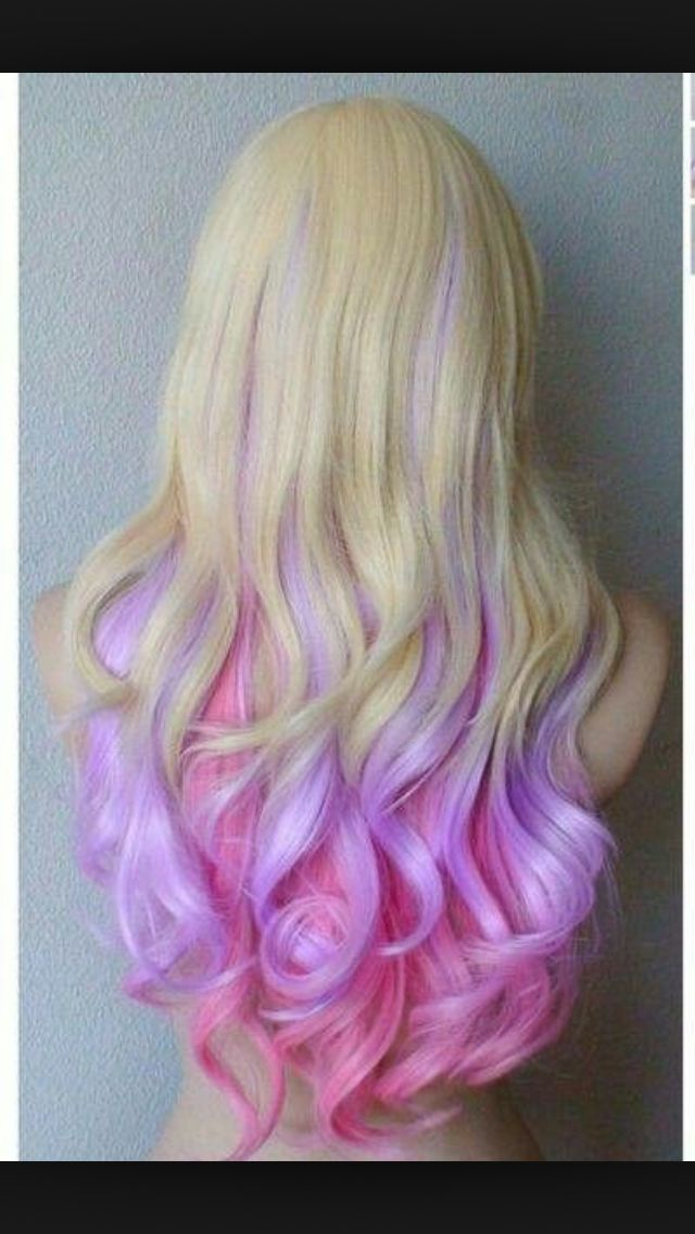 Lavender, and neon pink ombré on blonde hair!!