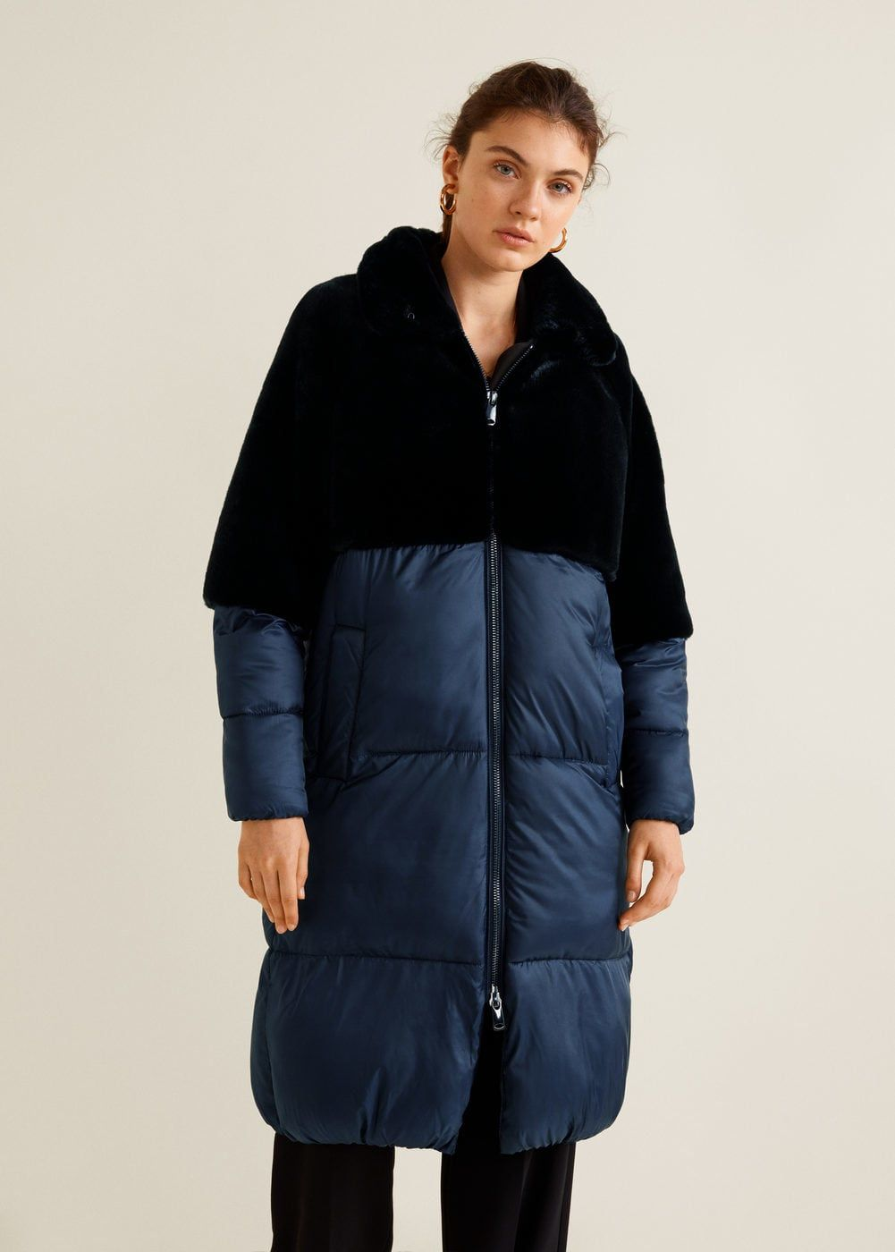 Faux Fur Quilted Coat Women Mango Usa Quilted Coat Women Quilted Coat Coats For Women [ 1400 x 1001 Pixel ]
