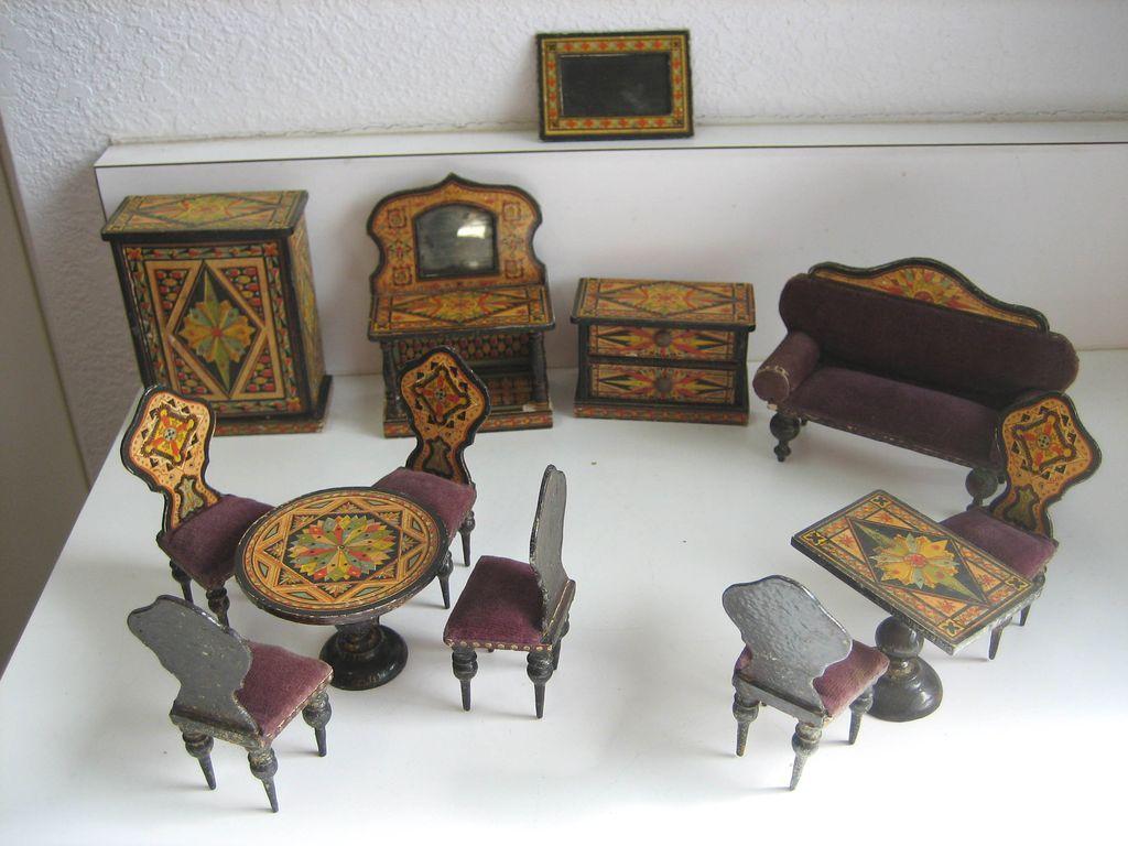 Antique miniature German dollhouse paper litho furniture, large set, 3/4