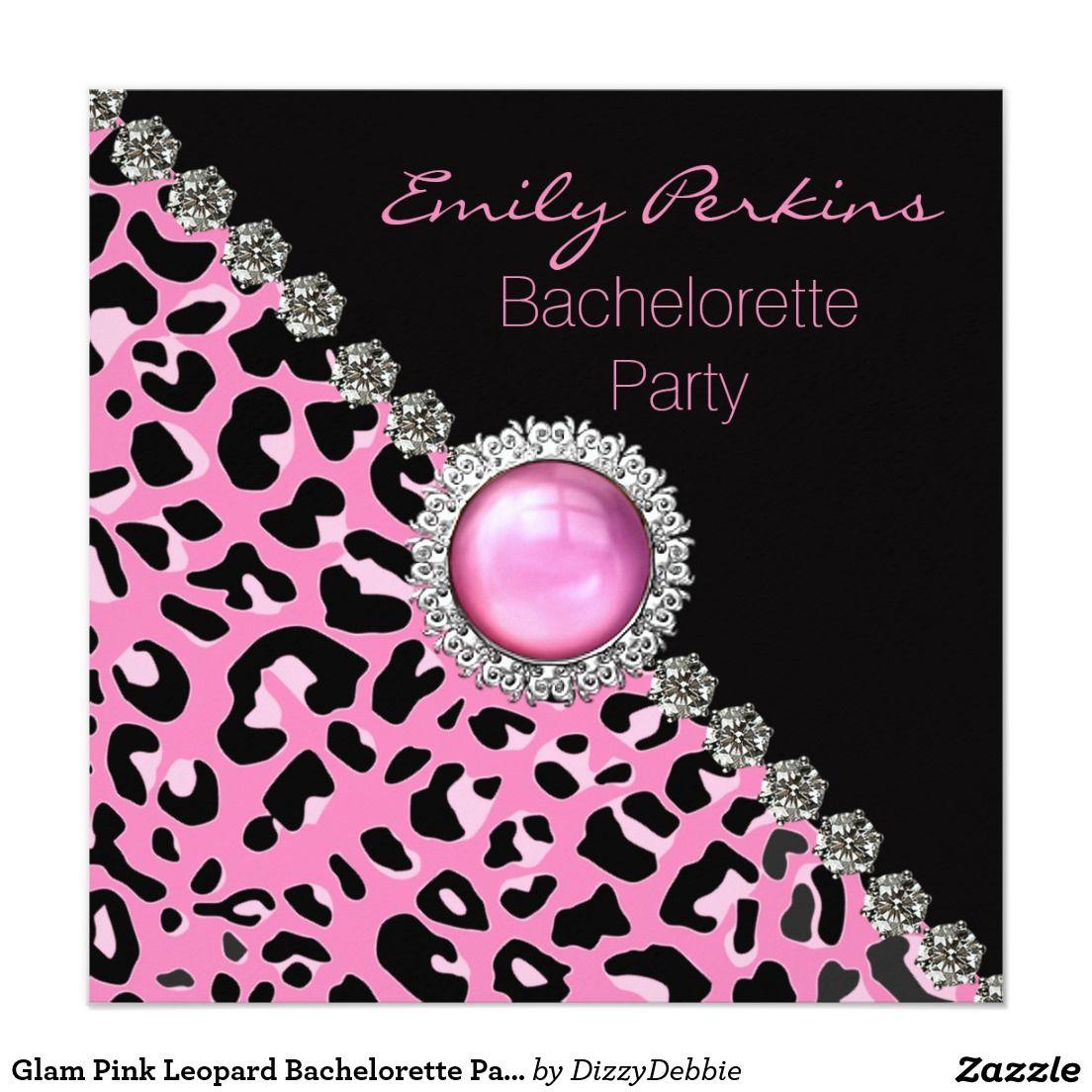 Glam Pink Leopard Bachelorette Party Invitation