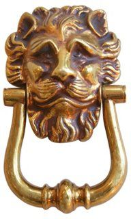 Beau 1950s Solid Cast Brass Lion Door Knocker