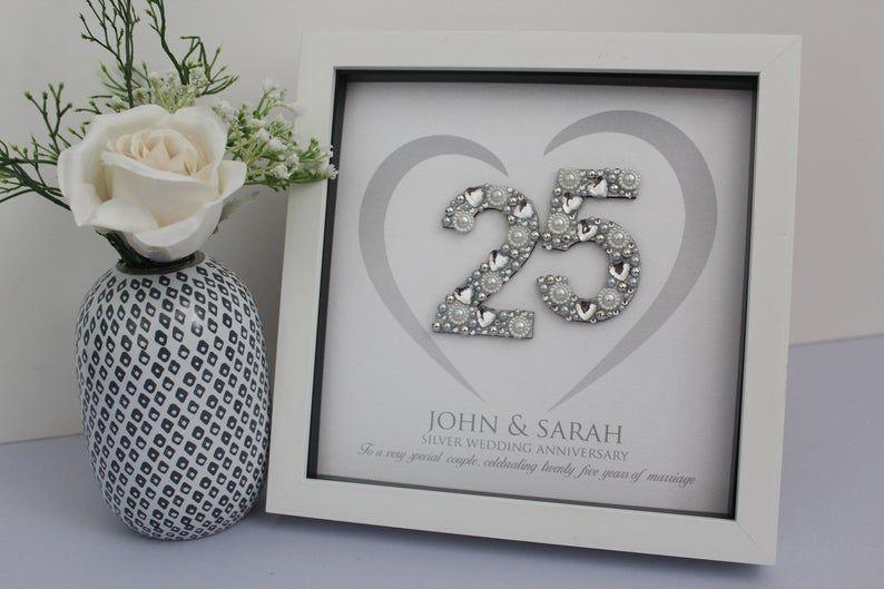 Silver Wedding Anniversary Gift 25th Anniversary Gift Etsy In 2020 Silver Wedding Anniversary Gift 25 Wedding Anniversary Gifts Personalized Wedding Gifts
