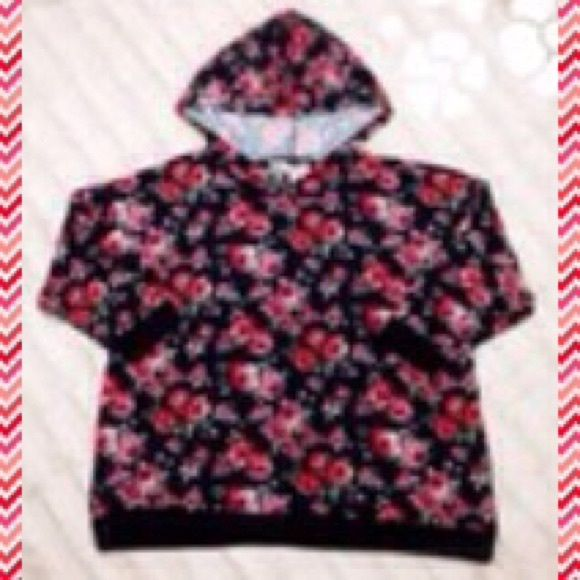 Floral Hoodie With Lace  Size 2X. Body- 95% Polyester, 5% Spandex. Lace- 92% Polyester, 8% Spandex. Rib- 62% Polyester, 33% Rayon, 5% Spandex. Almost Famous Sweaters Shrugs & Ponchos