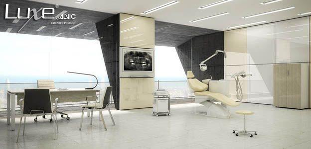 Paredes de #clínica #dental con #Panelux de @LuxeByAlvic. Espacios de trabajo de alto brillo #Luxe. #Decoración, #interiorismo, #arquitectura