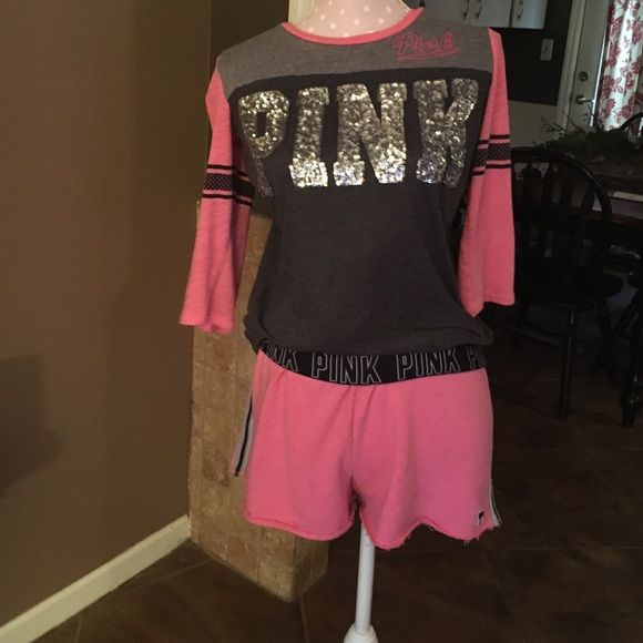 Victoria's Secret pink bling top and shorts Worn once both size medium includes shorts and top PINK Victoria's Secret Shorts Skorts