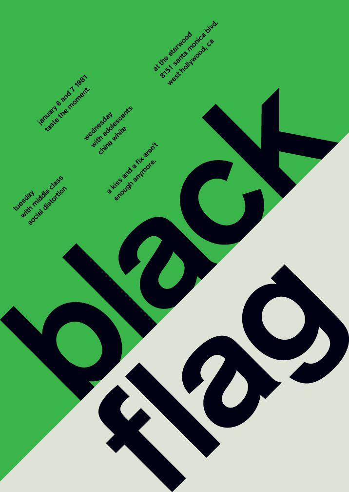 black flag from designer mike joyce as part of his 'Swissted' project (Swiss Modernism-inspired designs of punk flyers)