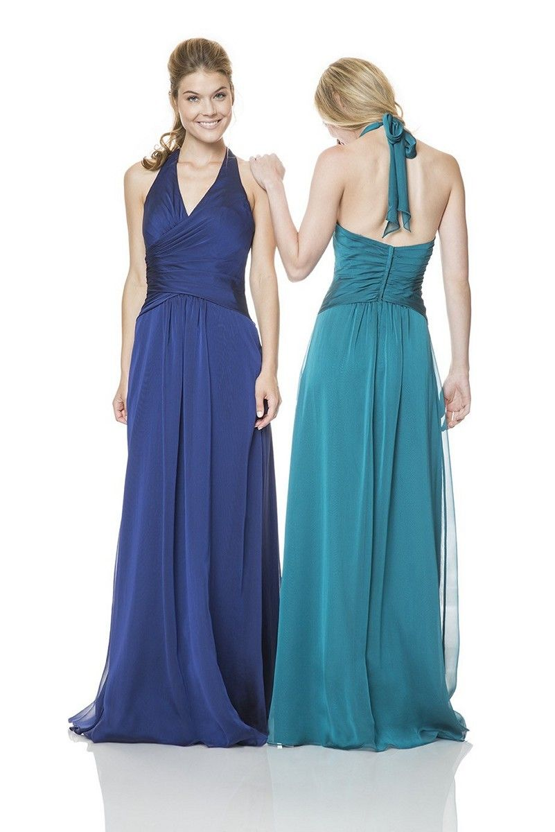 Yards of iridescent chiffon define the slimming A-line silhouette of ...