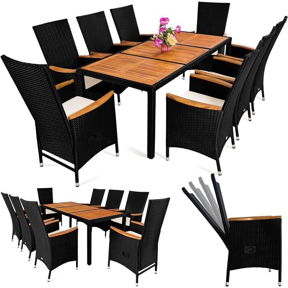 Rattan Garden Furniture Table And Chair Set 8 Seater Outdoor Dining Table  Set Acacia Wood Rectangular