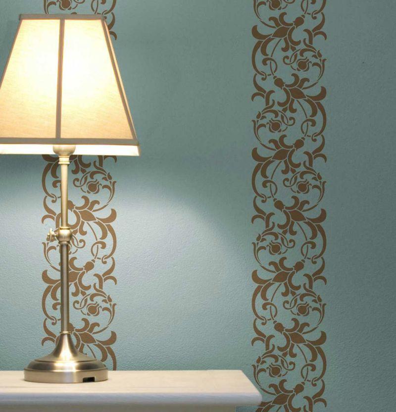 Wände Streichen Streifen Deko Idee Ornamente Blaugrau