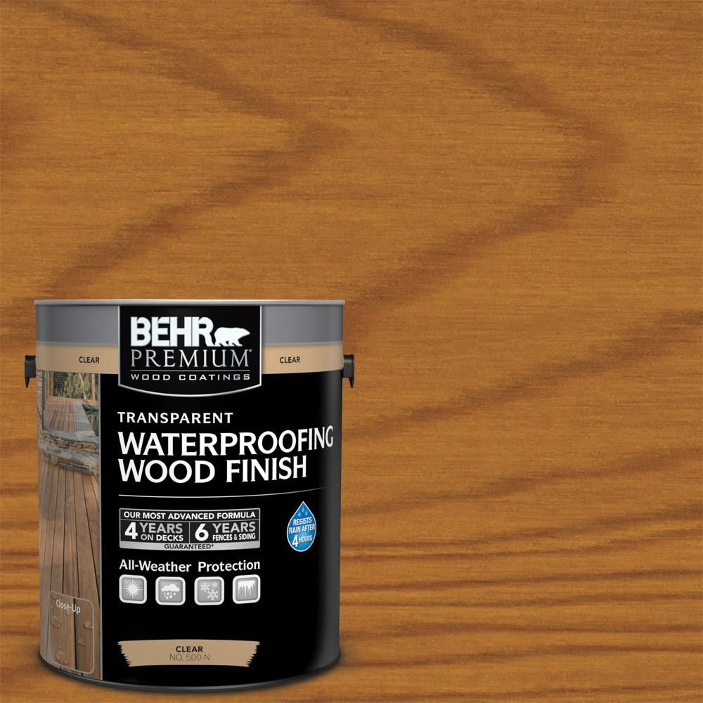 Behr Premium 1 Gal T 500 Natural Clear Transparent Waterproofing Exterior Wood Finish 50001 The Home Depot Exterior Wood Stain Staining Wood Wood Finish