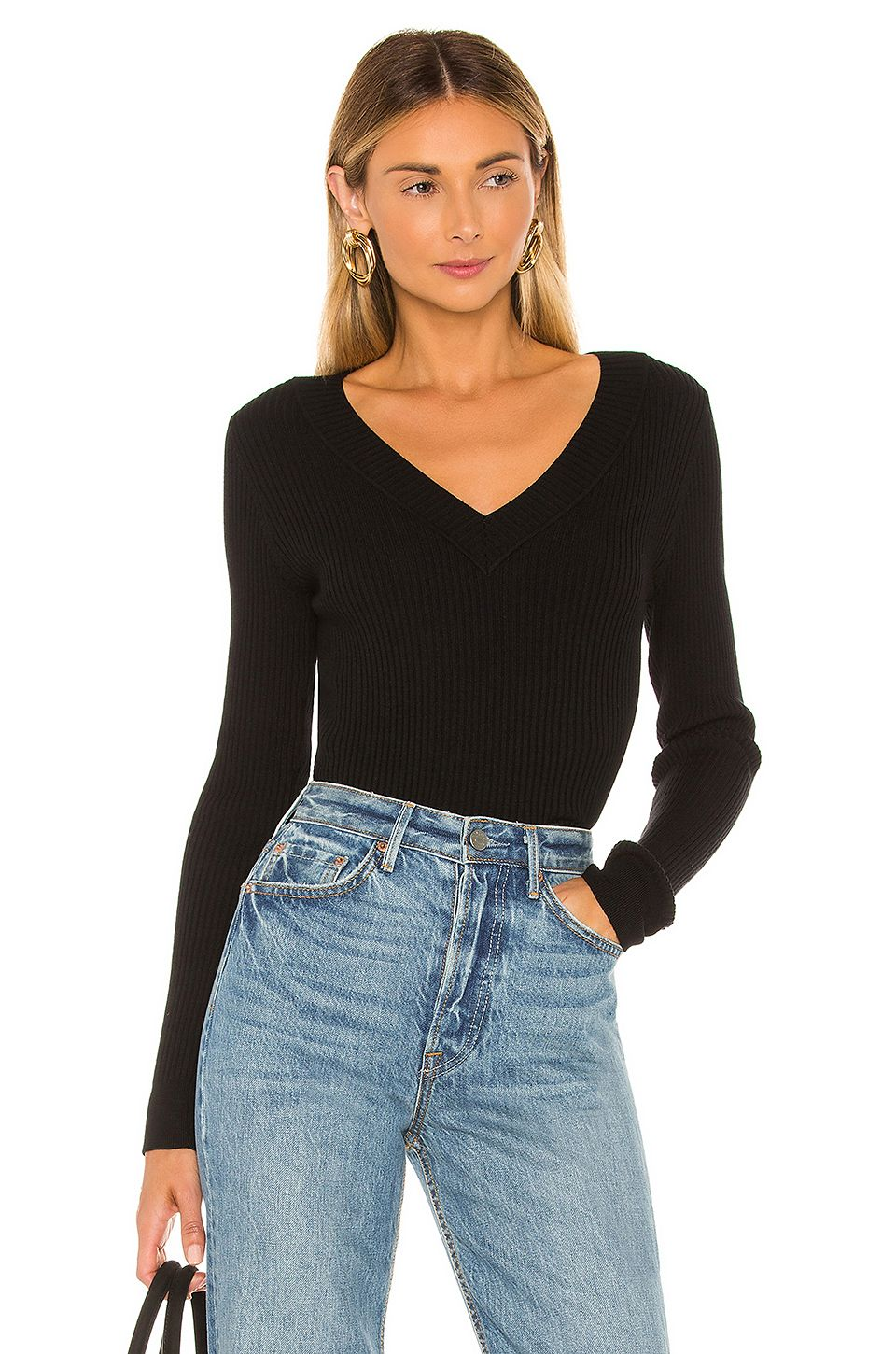 525 america Wide V Neck Pullover Sweater in Black