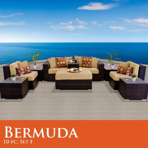1572/  Bermuda 10 Piece Outdoor Wicker Patio Furniture Set 10F Sand TK  Classics,