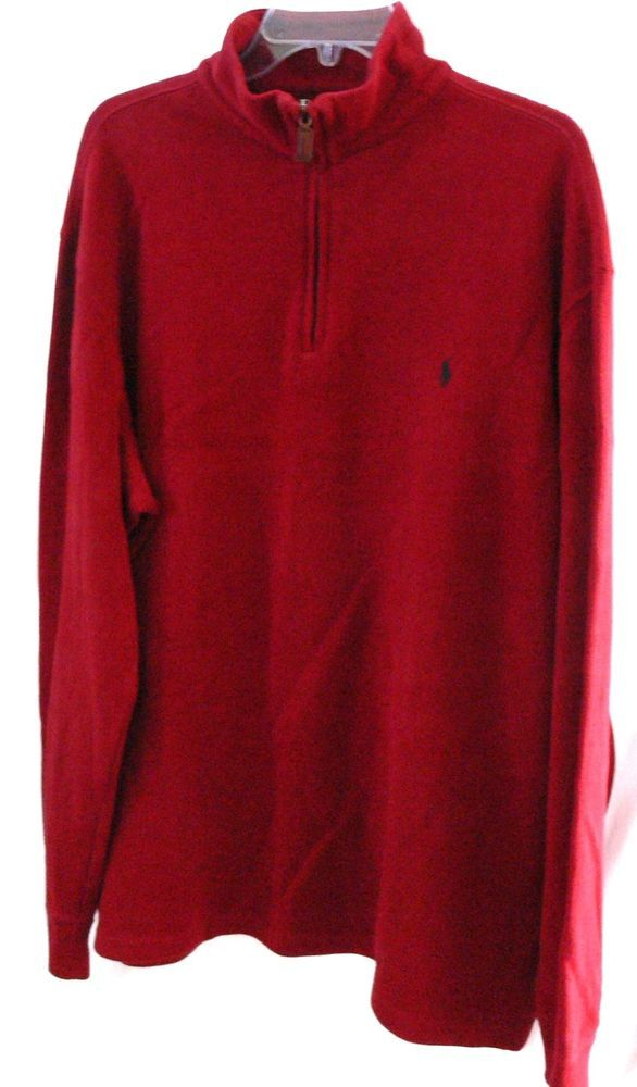 Polo By Ralph Lauren Pullover Maroon 1/4 Zip Front Long Sleeve Mens Sweater  XL