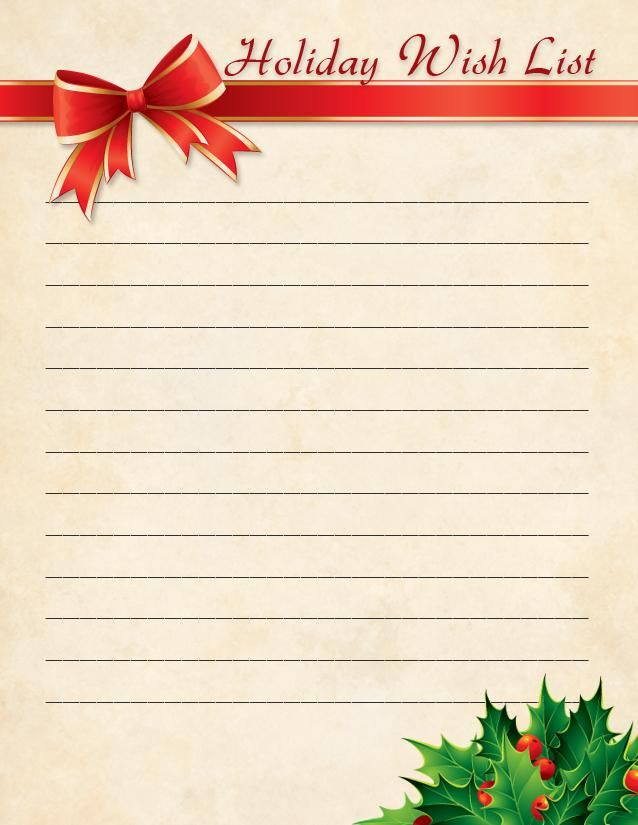 One pilots Christmas wish list – Printable Christmas Wish List Template