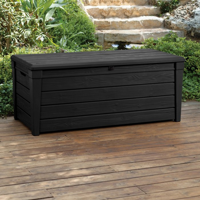 Keter Brightwood Resin 120 Gallon Outdoor Storage Deck Box Deck Box Storage Resin Deck Box Outdoor Deck Storage Box