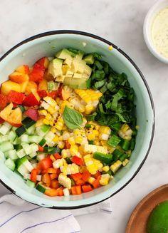 Corn, Cucumber, Peach, and Avocado Salad