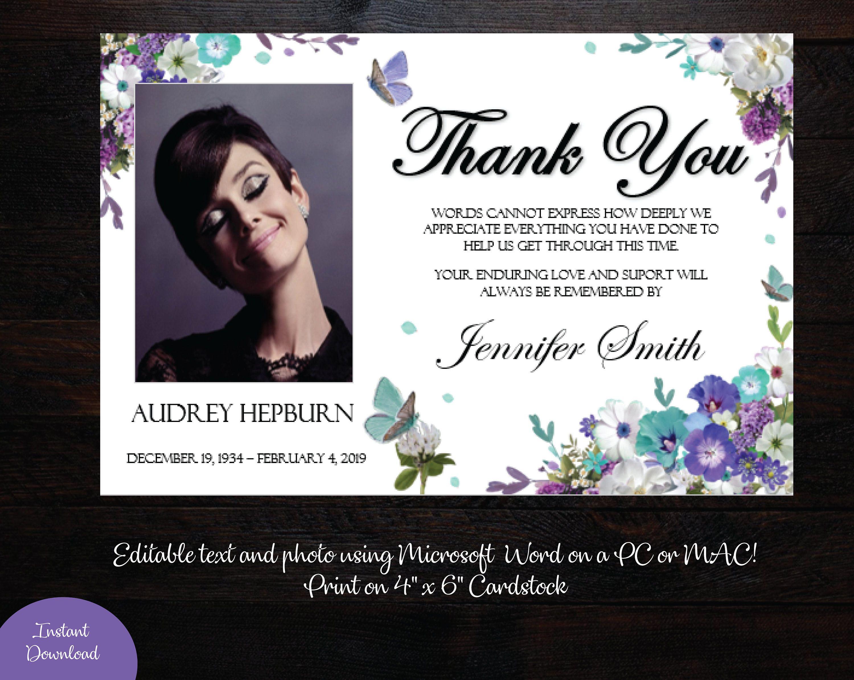 Funeral Photo Thank You Card 4 X 6 Memorial Thank You Card Teal Lavender Butterfly Thank Yo Photo Thank You Cards Thank You Cards Thank You Card Template