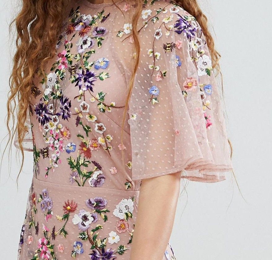 6291b09fe7 DESIGN floral embroidered dobby mesh flutter sleeve maxi dress in 2019