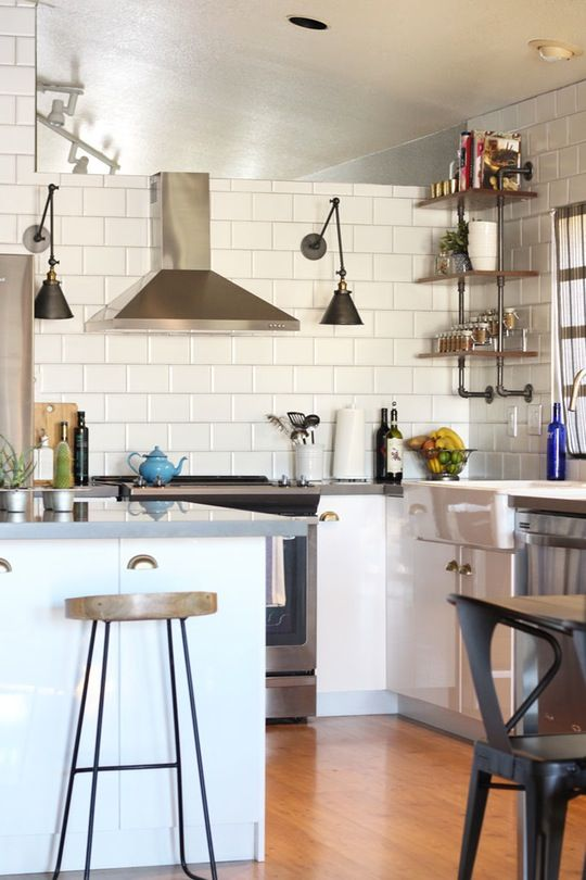 Thyme And Tamarind Kitchen Remodel   Dark Kitchen Of Grey U0026 Wood Changed To  White U0026 Stainless Steel