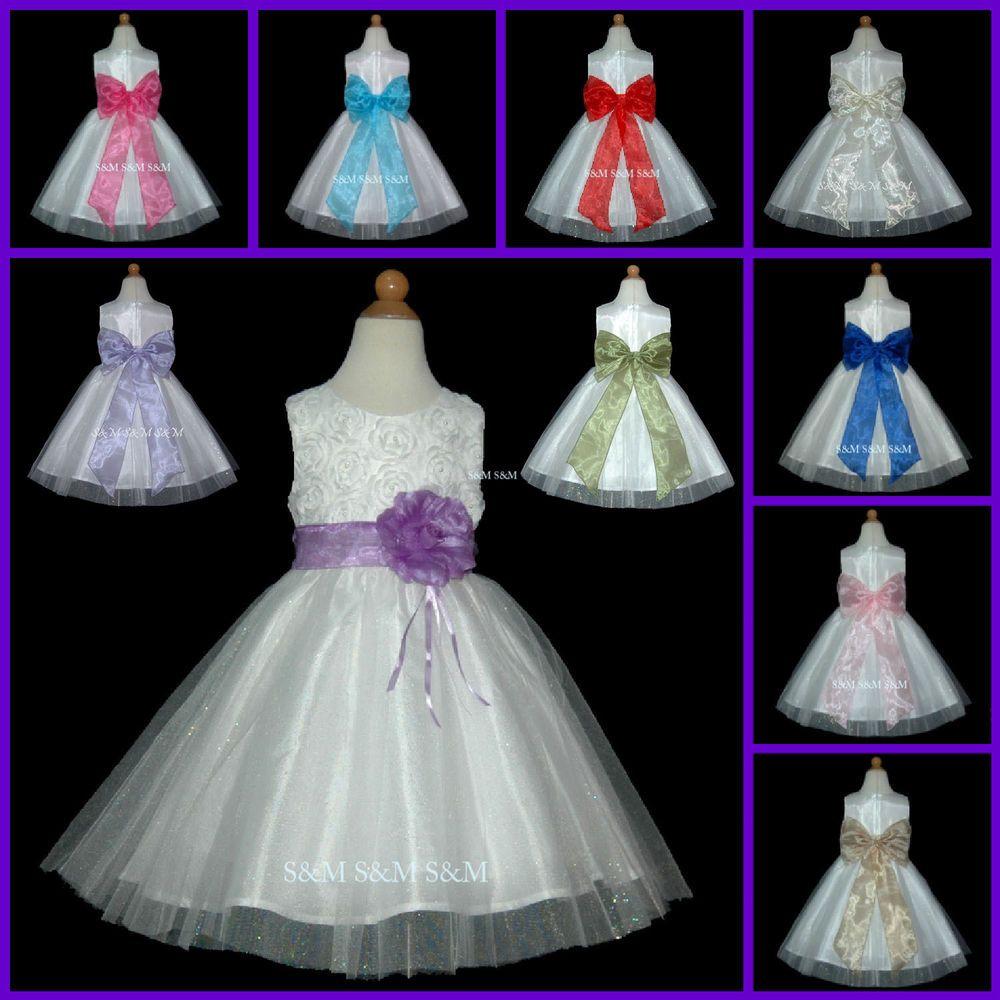 Ukd ivory layer bow wedding party baby kids flower girls dress m