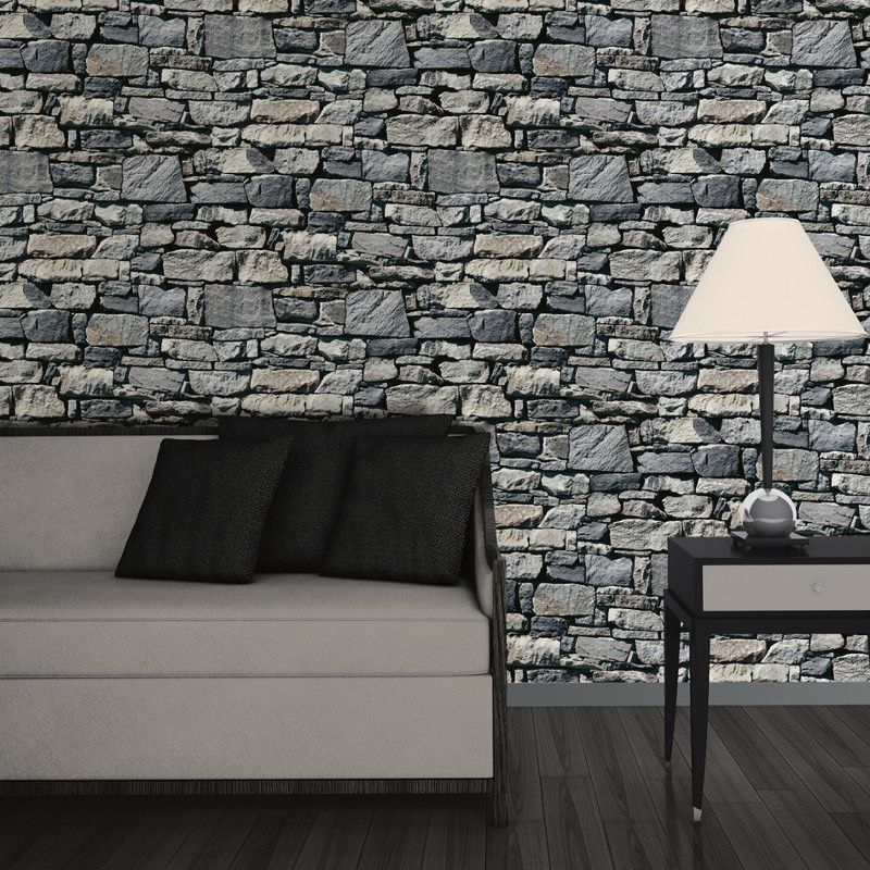Muriva dry stone wall 3d effect wallpaper grey http for 3d wallpaper for walls