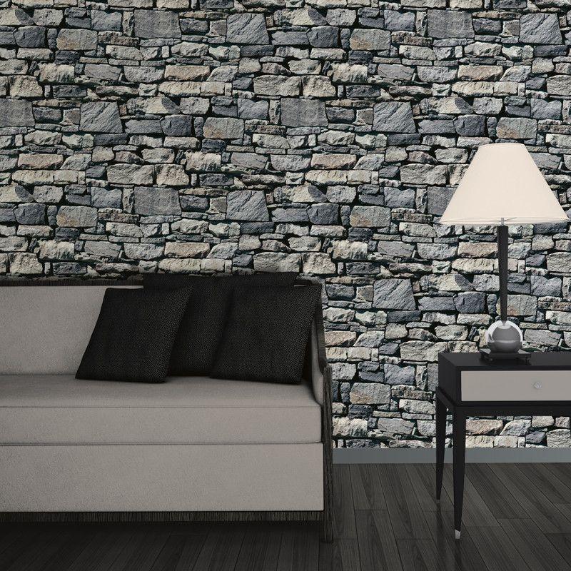 Muriva Dry Stone Wall 3D Effect Wallpaper Grey http