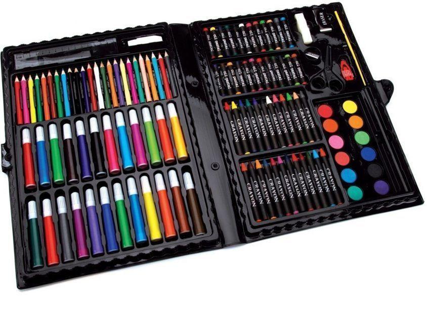 Details About 120 Piece Art Supplies Kit Set Pencils Pastels