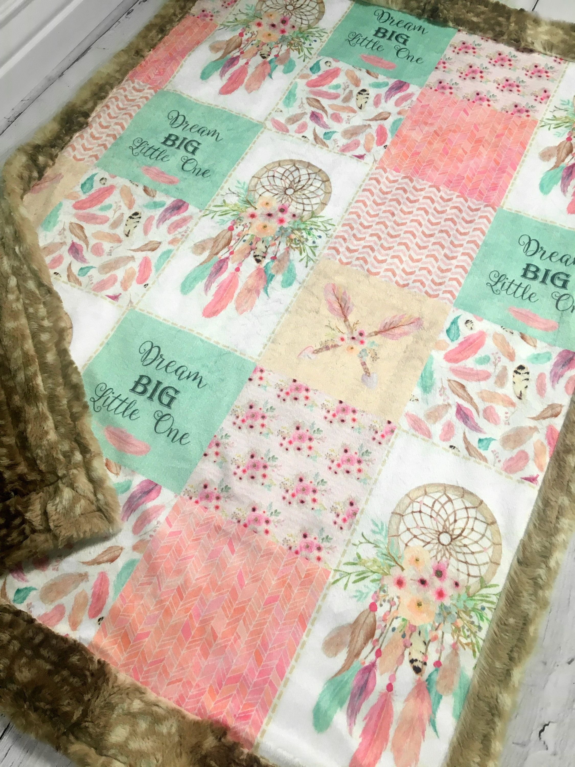 Dream Catcher Patchwork Nursery Quilt Minky Blanket By The