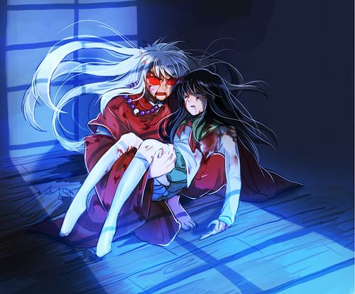 Inuyasha As A Full Demon Holding A Unconscious And Injured Kagome