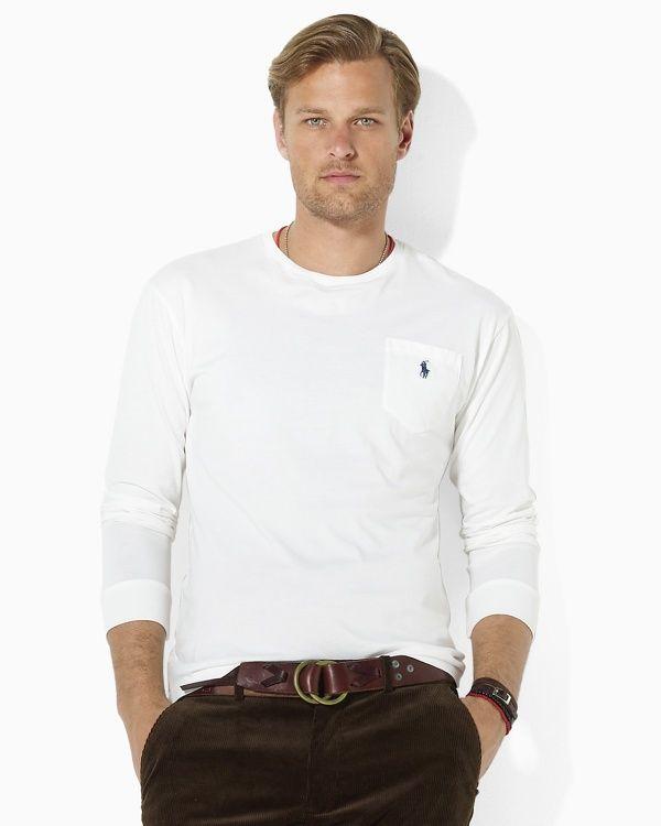 580847e0b05e Polo Ralph Lauren Classic-Fit Long-Sleeved Cotton Jersey Pocket Crewneck T- Shirt - Men s tops   tees