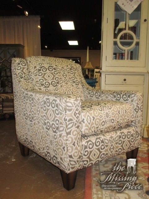 Accent Chair In A Cream Gold Gray Patterned Upholstery On Dark