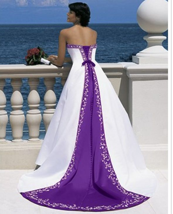 Wedding Dress With Purple Detail Wedding Dresses Blue
