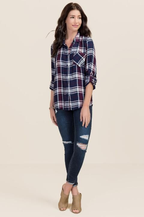 Lorelei Plaid Button Down Top-Navy model Size: Small